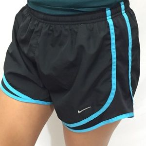 Nike Black and Sky Blue Running Shorts- Size S